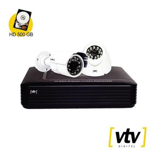 Imagem do produto VTV - KIT DVR C/2 CAM 720P HD 500GB 4 CANAIS**